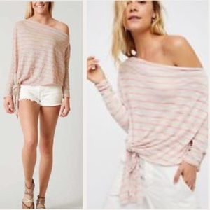 NWT Free People One Shoulder Striped Knot Top
